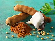 Whole tamarind pods, coconut, ground chilli powder & coriander seeds. Indain spices