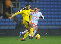 Oxford United's Curtis Nelson under pressure from Blackpool's Jordan Thompson<br /> <br /> Photographer Kevin Barnes/CameraSport<br /> <br /> The EFL Sky Bet League One - Oxford United v Blackpool - Saturday 15th December 2018 - Kassam Stadium - Oxford<br /> <br /> World Copyright © 2018 CameraSport. All rights reserved. 43 Linden Ave. Countesthorpe. Leicester. England. LE8 5PG - Tel: +44 (0) 116 277 4147 - admin@camerasport.com - www.camerasport.com
