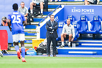 LEICESTER, ENGLAND - JULY 04: Leicester City manager Brendan Rogers during the Premier League match between Leicester City and Crystal Palace at The King Power Stadium on July 4, 2020 in Leicester, United Kingdom. Football Stadiums around Europe remain empty due to the Coronavirus Pandemic as Government social distancing laws prohibit fans inside venues resulting in all fixtures being played behind closed doors. (Photo by MB Media)