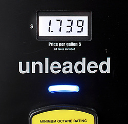 30 December 2014. New Orleans, Louisiana. <br /> The price of gas at $1.739 at Costco on Carrolton Ave in New Orleans, Louisiana.<br /> Photo; Charlie Varley/varleypix.com