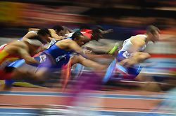 March 4, 2018 - Birmingham, England, United Kingdom - Andrew Pozzi of Great Britain  and Aries Merritt of United States at  60 meters hurdles at World indoor Athletics Championship 2018, Birmingham, England on March 4, 2018. (Credit Image: © Ulrik Pedersen/NurPhoto via ZUMA Press)