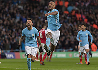 Football - 2018 Carabao (EFL/League) Cup Final - Manchester City vs. Arsenal<br /> <br /> Goalscorer and man of the match Vincent Kompany (Manchester City) celebrates after scoring as his team win 3-0 at Wembley.<br /> <br /> COLORSPORT/DANIEL BEARHAM