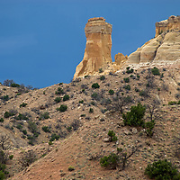 Chimney Rock juts out from a mesa above Ghost Ranch, near Abiquiu, New Mexico.
