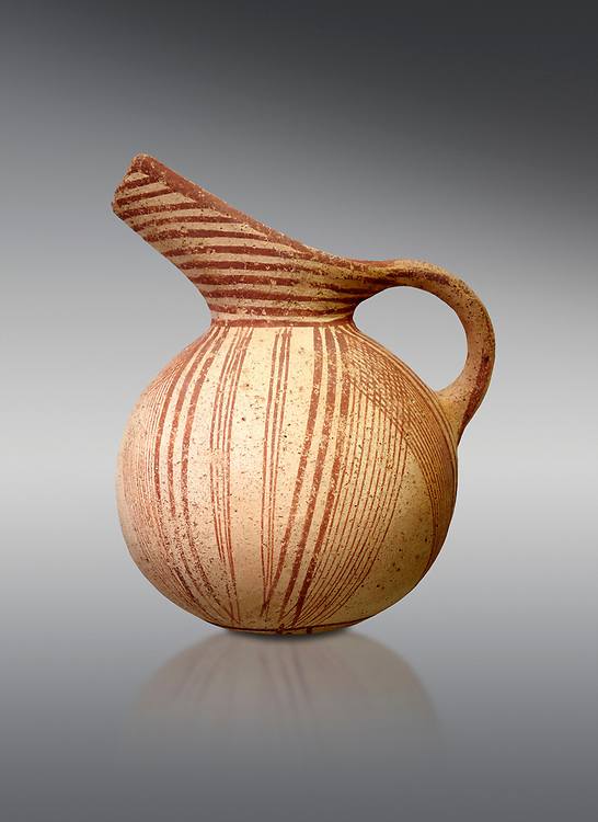 Early Minoan rounded jug with typical brownish red painted converging daigonal lines,  Hagios Onouphrios 2900-1900 BC BC, Heraklion Archaeological  Museum, grey background. .<br /> <br /> If you prefer to buy from our ALAMY PHOTO LIBRARY  Collection visit : https://www.alamy.com/portfolio/paul-williams-funkystock/minoan-art-artefacts.html . Type -   Heraklion   - into the LOWER SEARCH WITHIN GALLERY box. Refine search by adding background colour, place, museum etc<br /> <br /> Visit our MINOAN ART PHOTO COLLECTIONS for more photos to download  as wall art prints https://funkystock.photoshelter.com/gallery-collection/Ancient-Minoans-Art-Artefacts-Antiquities-Historic-Places-Pictures-Images-of/C0000ricT2SU_M9w