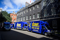 © Licensed to London News Pictures. 16/07/2016. London, UK. Removal men begin to take items from numbers 10 and 11 at Downing Street at the end of the week that saw Prime Minister David Cameron leave and Theresa May arrive. Photo credit: Ben Cawthra/LNP