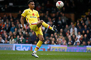 Josh Murphy of Milton Keynes Dons scores his teams 1st goal to make it 1-1.Skybet football league championship match, Fulham  v Milton Keynes Dons at Craven Cottage in London on Saturday 2nd April 2016.<br /> pic by Steffan Bowen, Andrew Orchard sports photography.