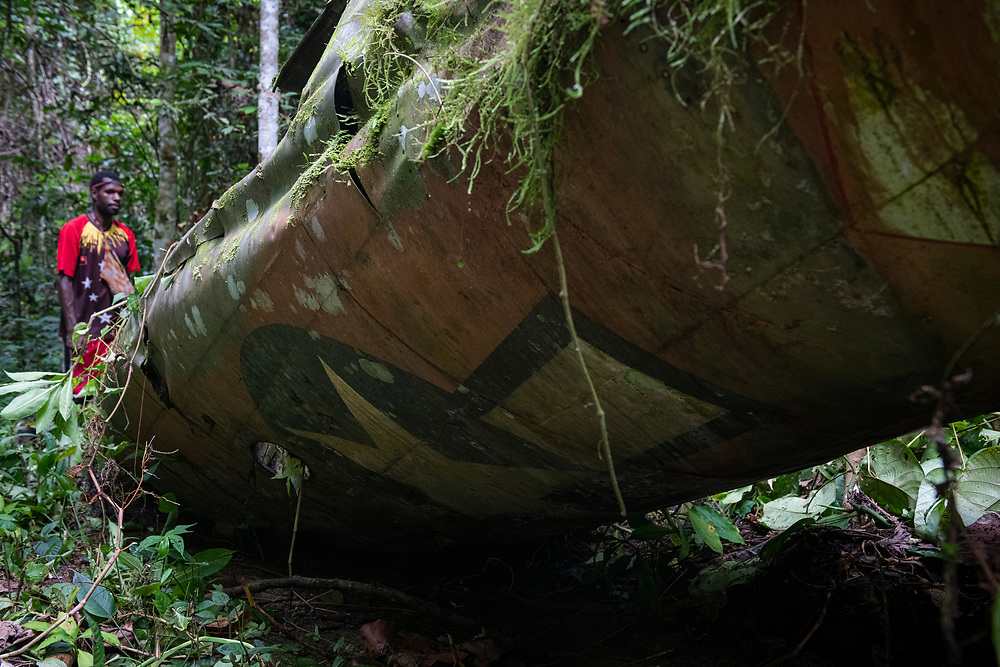 On April 5, 1944, on the return from an attack on Japanese forces in Hollandia, the A-20 Havoc piloted by 2nd Lt. Thomas E. Freeman crashed into the jungle near the Clay River in what is now Papua New Guinea. The remains of the crew were recovered in 1967. Seventy-five years after the crash, the USAAF insignia is still visible on the fuselage.