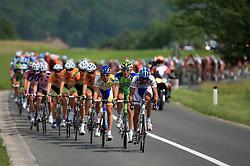 Riders in peloton (from R Roberto Traficante of Italia  Serramenti (PVC Diqugiovanni -Androni Giocattoli),Maciej Bodnar of Poland (Liquigas),...) during 1st stage of the 15th Tour de Slovenie from Ljubljana to Postojna (161 km) , on June 11,2008, Slovenia. (Photo by Vid Ponikvar / Sportal Images)/ Sportida)
