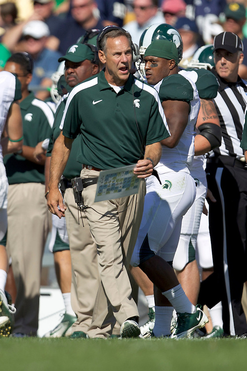 Michigan State head coach Mark Dantonio during NCAA football game between Notre Dame and Michigan State.  The Notre Dame Fighting Irish defeated the Michigan State Spartans 31-13 in game at Notre Dame Stadium in South Bend, Indiana.