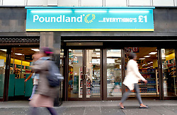 File photo dated 16/09/14 of a Poundland store. The retailer has announced it is to stop selling kitchen knives from all its stores by the end of next month as campaigners criticised it for stocking toy blades and meat cleavers for Halloween.