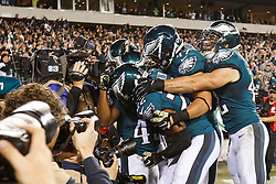 Philadelphia Eagles running back Darren Sproles #43 is congratulated by teammates after scoring a touchdown during the NFL game between the Carolina Panthers and the Philadelphia Eagles at Lincoln Financial Field in Philadelphia, Pennsylvania on Monday November 10th 2014. The Eagles won 45-21. (Brian Garfinkel/Philadelphia Eagles)