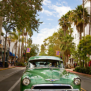 Hot rods cruise State Street in Santa Barbara.