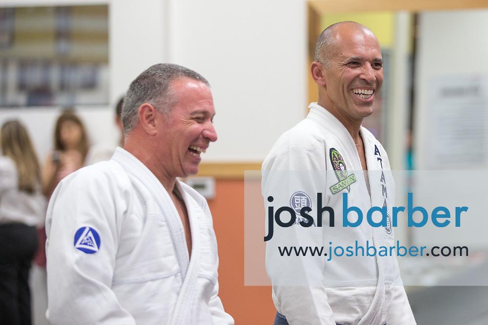 Ivan Kravitz and Royce Gracie during a jiu-jitsu lesson at US Blackbelt Academy on Thursday, March 26, 2015 in Laguna Niguel, Calif. (Photo/Josh Barber)