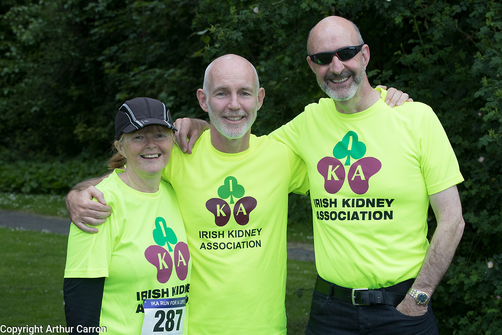 NO FEE PICTURES                                                                                                                                                RTE's Ray D'Arcy was joined by hundreds of people from throughout the country who donned their running shoes at the weekend to support the Irish Kidney Association's Run for a Life. The family fun run, which is now in its eleventh year and celebrates organ donation and transplantation, was held at Corkagh Park, Clondalkin, Dublin 22 on Saturday 25th May. The 'Run for a Life' was open to people of all ages and levels of fitness who could choose to walk, jog or run in the event, which offered prizes for winners in a choice of chip timed 2.5km, 5km and 10km distances. www.runforalife.ie. Pictured are : Ray D'Arcy with Joe Moynihan, kidney transplant and wife frances. Picture: Arthur Carron