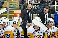 KELOWNA, BC - DECEMBER 01: Saskatoon Blades' head coach Mitch Love and assistant coach Ryan Keller stand on the bench and discusses a play against the Kelowna Rockets at Prospera Place on December 1, 2018 in Kelowna, Canada. (Photo by Marissa Baecker/Getty Images)