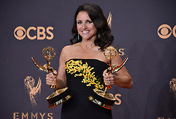 Actor Julia Louis-Dreyfus, winner of the award for Outstanding Comedy Actress for 'Veep,' poses in the press room during the 69th Annual Primetime Emmy Awards held at the Microsoft Theater on September 17, 2017 in Los Angeles, CA, USA (Photo by Sthanlee B. Mirador/Sipa USA)