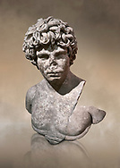Roman statue of Antinous. Marble. Perge. 2nd century AD. Inv no . Antalya Archaeology Museum; Turkey. Against a warm art background. .<br /> <br /> If you prefer to buy from our ALAMY STOCK LIBRARY page at https://www.alamy.com/portfolio/paul-williams-funkystock/greco-roman-sculptures.html . Type -    Antalya     - into LOWER SEARCH WITHIN GALLERY box - Refine search by adding a subject, place, background colour, museum etc.<br /> <br /> Visit our ROMAN WORLD PHOTO COLLECTIONS for more photos to download or buy as wall art prints https://funkystock.photoshelter.com/gallery-collection/The-Romans-Art-Artefacts-Antiquities-Historic-Sites-Pictures-Images/C0000r2uLJJo9_s0