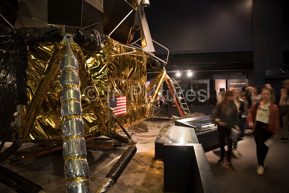 Exploring Space exhibit displaying an Apollo landing craft at the Science Museum in London, England, United Kingdom. The Science Museum was founded in 1857 with objects shown at the Great Exhibition of 1851. Today the Museum is world renowned for its historic collections, awe-inspiring galleries and inspirational exhibitions.