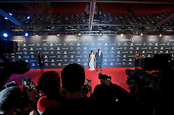 © Licensed to London News Pictures. 06/02/2012. London, UK. Athlete Andy Turner and guest arriving on the red carpet for the Laureus World Sports Awards 2012. Dozens of sports and Hollywood celebrities arrived in the English capital to attend the event held at the Queen Elizabeth II Conference Centre in the same year that London will host the Olympic Games. Photo credit : Ben Cawthra/LNP