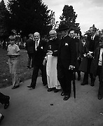 Funeral of Eamon DeValera.   (J72)..1975..02.09.1975..09.02.1975..2nd September 1975..Today saw the funeral of Eamon DeValera. He was laid to rest beside his wife Sinead in Glasnevin Cemetery,Dublin. Dignitries from all around the world attended at the funeral...Image of some of the dignitries who attended the funeral of Eamon DeValera.