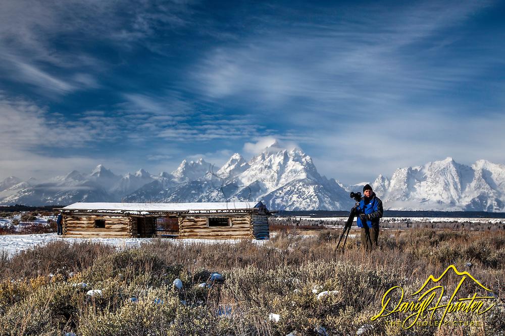 Mark Leddra photographing Cunningham Cabin in Grand Teton National Park