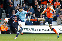 Blackpool's Kelvin Mellor clears the danger away Luton Town's Lawson D'Ath<br /> <br /> Photographer David Shipman/CameraSport<br /> <br /> The EFL Sky Bet League Two - Luton Town v Blackpool - Saturday 1st April 2017 - Kenilworth Road - Luton<br /> <br /> World Copyright © 2017 CameraSport. All rights reserved. 43 Linden Ave. Countesthorpe. Leicester. England. LE8 5PG - Tel: +44 (0) 116 277 4147 - admin@camerasport.com - www.camerasport.com