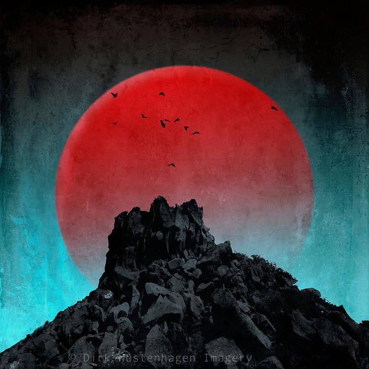 Big red artificial moon over dark mountain top - digital photo illustration