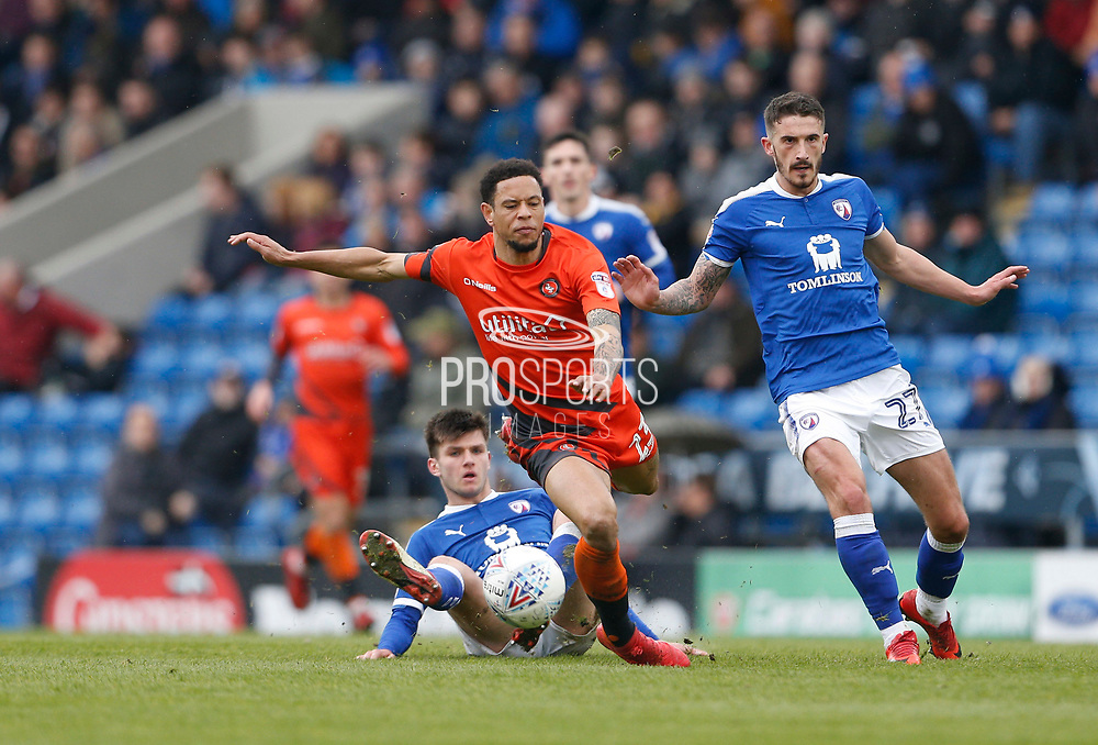 Wycombe Wanderers Nathan Tyson(23) is fouled by Chesterfield's Joe Rowley(15) during the EFL Sky Bet League 2 match between Chesterfield and Wycombe Wanderers at the b2net stadium, Chesterfield, England on 28 April 2018. Picture by Paul Thompson.