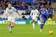 Cardiff City's Kadeem Harris (r) runs past Aston Villa's Alan Hutton. EFL Skybet championship match, Cardiff city v Aston Villa at the Cardiff City Stadium in Cardiff, South Wales on Monday 2nd January 2017.<br /> pic by Carl Robertson, Andrew Orchard sports photography.