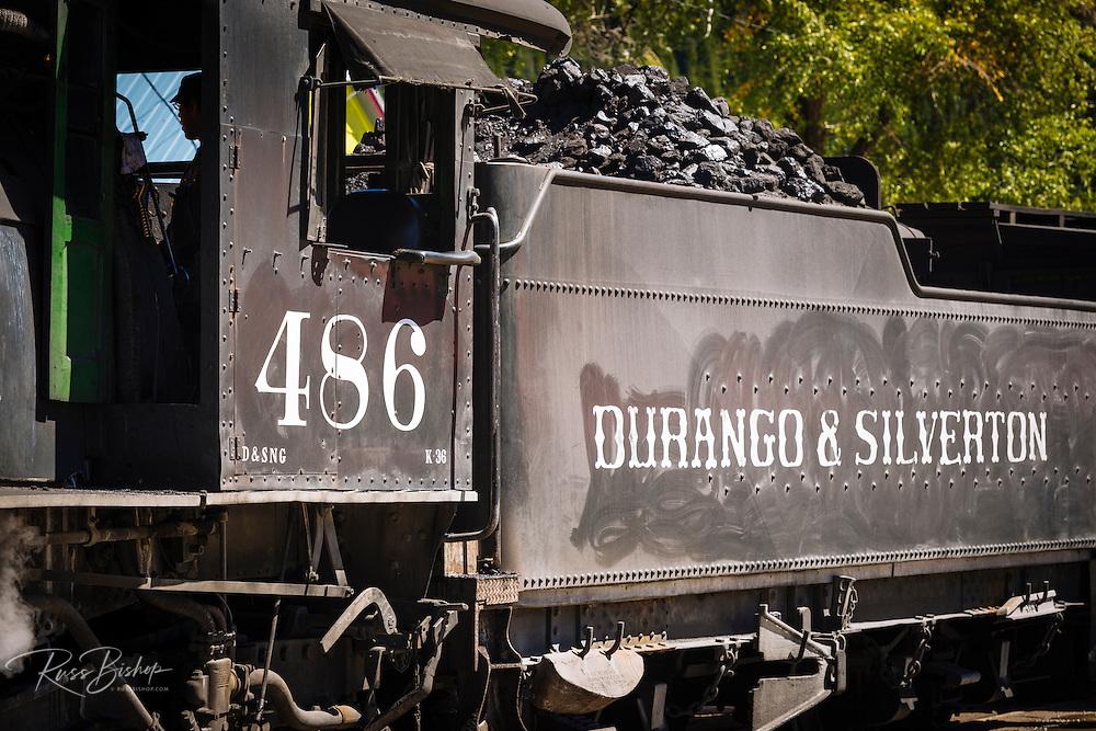 Engineer on the Durango & Silverton Narrow Gauge Railroad, Silverton, Colorado USA