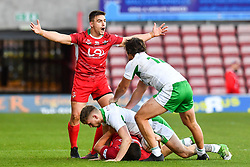 11th November 2018 , Racecourse Ground,  Wrexham, Wales ;  Rugby League World Cup Qualifier,Wales v Ireland ; James Olds of Wales appeals to the Referee <br /> <br /> <br /> Credit:   Craig Thomas/Replay Images