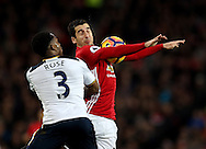 Henrikh Mkhitaryan of Manchester United chests the ball under pressure from Danny Rose of Tottenham during the English Premier League match at Old Trafford Stadium, Manchester. Picture date: December 11th, 2016. Pic Simon Bellis/Sportimage