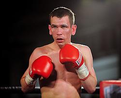 Martin Ward readies to fight - Photo mandatory by-line: Dougie Allward/JMP - Tel: Mobile: 07966 386802 27/04/2013 - SPORT - FOOTBALL - City Academy Sports Centre - Bristol - Lee Haskins V Martin Ward - British bantamweight title