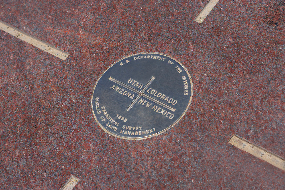 Four Corners medallion, where four states, Colorado, Utah, Arizona, New Mexico touch