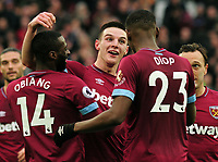 Football - 2018 / 2019 Premier League - West Ham United vs. Arsenal<br /> <br /> Winning goalscorer Declan Rice celebrates at the final whistle with Obiang and Diop, at The London Stadium.<br /> <br /> COLORSPORT/ANDREW COWIE