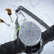 Jay Goodrich travels around the Cascades with his Wagner Custom Skis during epic winter storm conditions.