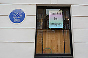 A political message about the value of migration is attached to the exterior of the location where Dutch landscape painter Vincent van Gogh lived for a short period between 1873-4, at 87 Hackford Road, London S9 in Brixton SW9, on 11th May 2020, in London, England. The 20 year-old Van Gogh was not yet an artist when he came to London to work for Dutch art dealer, Goupil & Cie in Covent Garden. His lodgings was at one point semi-derelict but is now a listed Art House created by Artangels Saskia Olde Wolbers.
