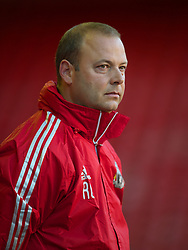 LIVERPOOL, ENGLAND - Wednesday, August 17, 2011: Liverpool's reserve team head coach Rodolfo Borrell during the first NextGen Series Group 2 match against Sporting Clube de Portugal at Anfield. (Pic by David Rawcliffe/Propaganda)