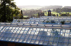Evening sunlight on the glasshouses in the kitchen garden at Chatworth House