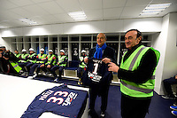 Jean Louis Triaud / Alain Juppe - 23.03.2015 - Visite du Stade de Bordeaux -<br /> Photo : Caroline Blumberg / Icon Sport *** Local Caption ***