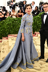 Kristin Scott Thomas attending the Metropolitan Museum of Art Costume Institute Benefit Gala 2018 in New York, USA. PRESS ASSOCIATION Photo. Picture date: Picture date: Monday May 7, 2018. See PA story SHOWBIZ MET Gala. Photo credit should read: Ian West/PA Wire