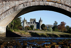 Inveraray Castle taken through the arches of the road bridge over the river Aray, which flows into Loch Fyne, Scotland's longest sea loch. Inveraray Castle has been the seat of the Dukes of Argyll, chiefs of Clan Campbell, since the 18th century.......... <br /> (c) Stephen Lawson | Edinburgh Elite media