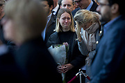 Three days after the killing of Jack Merritt, 25, and Saskia Jones, 23, by the convicted teorrorist Usman Khan at Fishmongers Hall on London Bridge, emotional friends and families of the victims and Prime Minister Boris Johnson, Leader of the Opposition Jeremy Corbyn, London Mayor Sadiq Khan plus City and police officials, hold a vigil at the Guildhall in the City of London, on 2nd December 2019, in London, England.