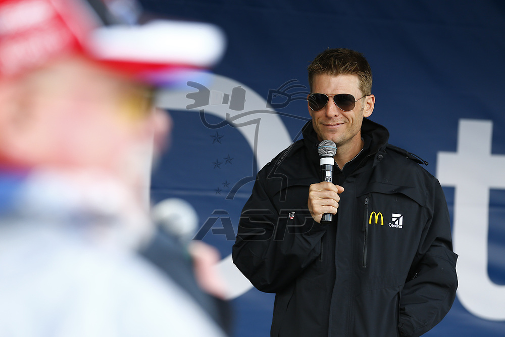 October 29, 2017 - Martinsville, Virginia, USA: Jamie McMurray (1) attends a question and answer session at the First Data activation tent before the First Data 500 at Martinsville Speedway in Martinsville, Virginia.