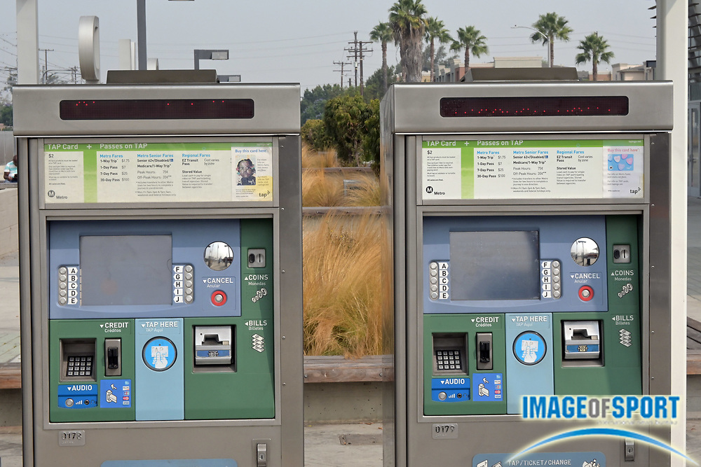 A general view of the Metro A-Line light rail station ticket kiosks at the MLK Transit Center at 275 N Willowbrook Ave, Tuesday, Sept. 15, 2020, in Compton ,Calif.