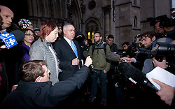 © Licensed to London News Pictures. 18/01/2012. LONDON, UK. John Cooper, a QC representing the Occupy London protesters talks to the assembled press outside the Royal Courts of Justice in London today (18/01/12). The demonstrators, at this time camped outside St Paul's Cathedral, lost their case against the City of London Corporation.  Photo credit: Matt Cetti-Roberts/LNP