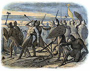 Harold II (c1022-1066) Nominated as his successor as King of Angles and Saxons by Edward the Confessor.  Harold killed by Norman arrow at Battle of Hastings 1066. Colour-printed wood engraving 1864. Artist James Doyle.