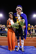 Micah Bondoc and David Kruskamp (8) pose for a photo after being crowned Homecoming Queen and King during halftime activities during homecoming against Saratoga at Milpitas High School in Milpitas, California, on October 11, 2013.  Milpitas beat Saratoga 54-14. (Stan Olszewski/SOSKIphoto)