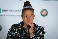 May 28, 2019 - Paris, FRANCE - Maria Sakkari of Greece talks to the media after winning her first-round match at the 2019 Roland Garros Grand Slam tennis tournament (Credit Image: © AFP7 via ZUMA Wire)