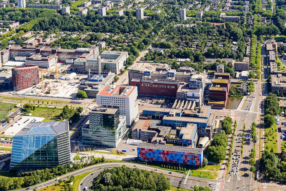 Nederland, Noord-Holland, Amsterdam, 01-08-2016; Amsterdam-Buitenveldert. VU Medisch centrum, Amstelveenseweg en Boelenlaan.<br /> VU MC Cancer Centre.<br /> <br /> luchtfoto (toeslag op standard tarieven);<br /> aerial photo (additional fee required);<br /> copyright foto/photo Siebe Swart
